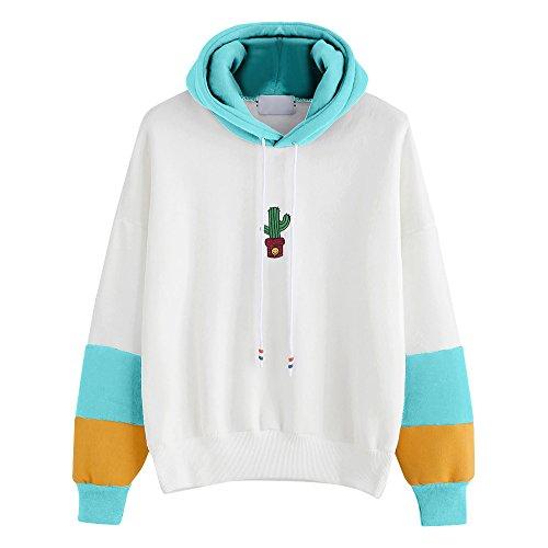 Dorical Damen Langarm Hoodie Sweatshirt mit Kapuze Pullover Tops Dünne Lange Bluse Hemd Tops Elegante Lose Blusen Oberseiten Langarm Mantel Outwear Gr S-XL(Himmelblau,X-Large)