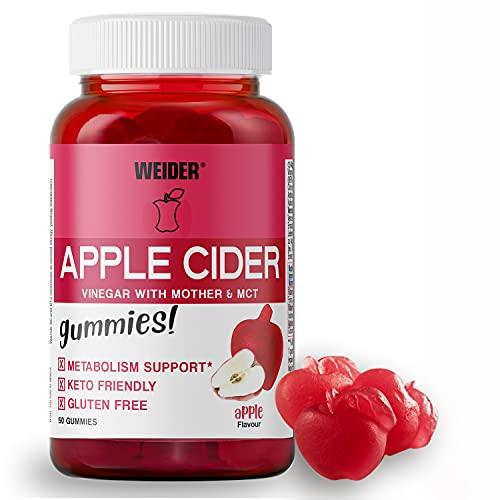 Weider Apple cider vinegar Gummies. Gominolas de vinagre de manzana. Sin Azúcares y Sin Gluten. 50 gummies. Sabor manzana.