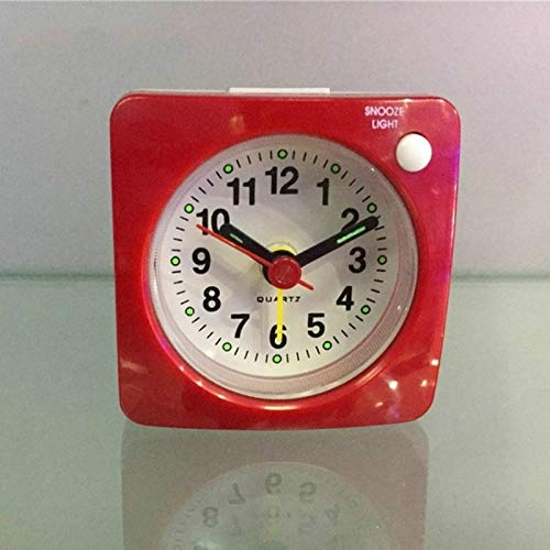 HUANGJIAWEN Creative Wall Clock Alarm Clock,light Weight, Bedside Silent Quartz Alarm Clock With Light & Snooze Function For Bedroom (Color : Red)