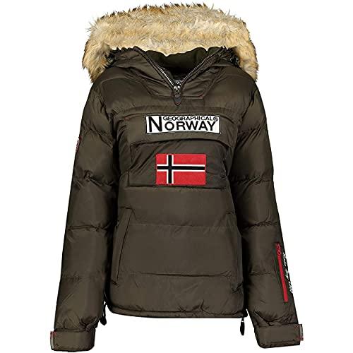 Geographical Norway BELANCOLIE Lady - Parka de Mujer cálida - Abrigo Capucha de Piel sintética - Chaqueta Invierno Acolchada - Chaqueta Corta Forro cálido - Regalo de Mujer (Caqui M) Talla 2