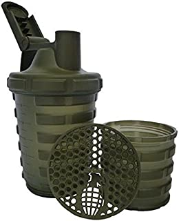 Grenade Shaker Bottle | Protein Cup with Storage Compartment | Leak Proof Strainer Included | BPA Free Sports Bottle | Pill Slots | Army Green, 20oz