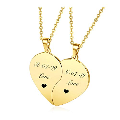 Personalized Master Custom Engraved Stainless Steel His and Hers Set of 2 Matching Heart Puzzle Pendant Necklace for Couples Boyfriend Girlfriend