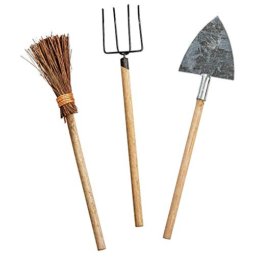 MaMeMi - Set per presepe con forchetta, scopa e vanga, accessori per presepe