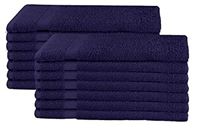 COTTON CRAFT - 14 Pack Navy Blue Hand Towels - 100% Ringspun Cotton - 16x28 - Light Weight 450 Grams - Quick Drying and Highly Absorbent
