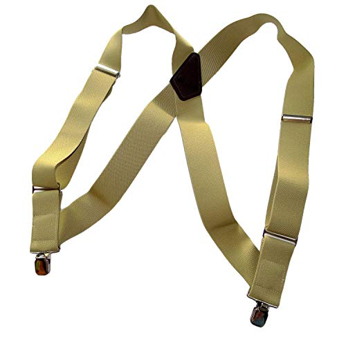Holdup Light Tan Hip-clip Trucker Style Suspenders with patented jumbo Silver No-slip Clips 2' Leather Work Belt