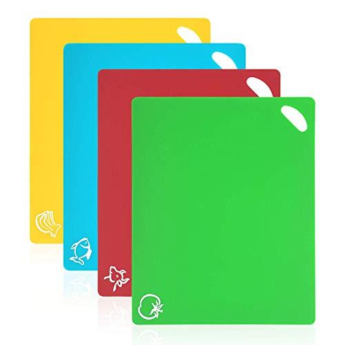 Vicloon Tagliere Cucina,4 Pack Tagliere Plastica Antiscivolo Materiale PP per Alimenti, Resistente al Calore Antimicrobico e Non Tossico