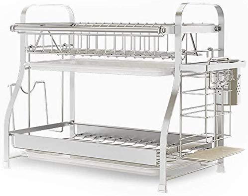 MRZHW Abtropfgestell für Geschirr aus 304 Edelstahl für die Küche, Abtropfgestell mit Besteckkasten und Tellerständer-44cm 2 Floors