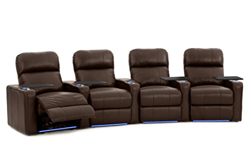 Octane Seating Turbo XL700 Home Theater Power Recline - Lighted Cup Holders & Baserail - Row 4 Curved - Storage Arms - Memory Foam
