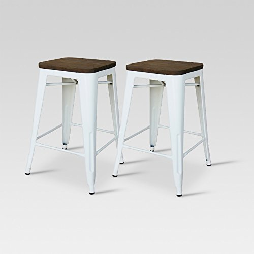 "Set of 2 24"" Hampden Industrial Counter Stool White - Threshold™"