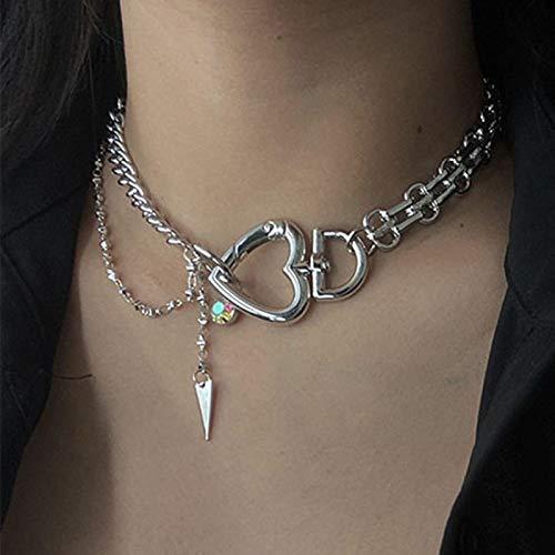 Collar mujer gargantilla moda color plata corazón forma gargantilla collar para mujeres temperamento único boda fiesta joyería