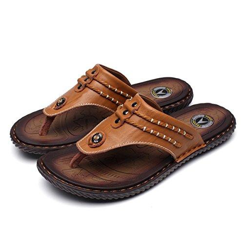 gracosy Unisex-Erwachsene Sandalen, Herren Zehentrenner Flach Sommerschuhe Anti-Rutsch Hausschuhe Comfort Outdoor Sandalen Sommer Strandschuhe - Braun - 42 EU