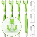 onebarleycorn - 7 cepillos de dientes para perros, cepillos de dientes para perros de triple cabeza y cepillo de dientes para dientes de perro para perros pequeños y grandes, limpieza de boca