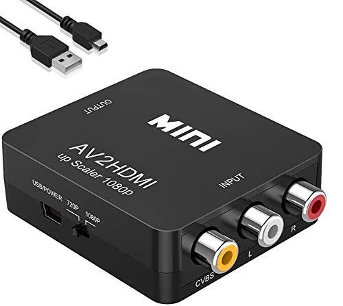 Adattatore da RCA a HDMI, Converte l'ingresso, convertitore AV a HDMI, 1080P AV a HDMI Video Audio Convertitore, computer portatile, TV, videoregistratore, DVD, presa PAL / NTSC (f)
