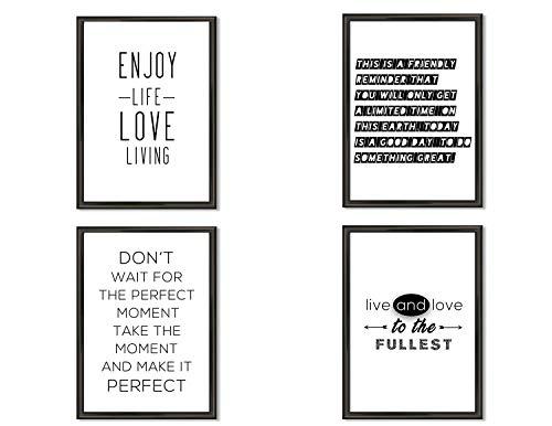 Hometastic 4 Premium Poster im Set | Bilder für Wohnzimmer und Schlafzimmer | Wandbild, Kunstdruck mit Spruch in schwarz weiß ohne Bilderrahmen | Dekoration | Modern | DIN A4 | (Set 3)