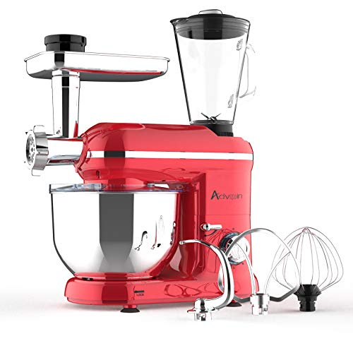 Ausbuy Stand Mixer, 1100W 4.5L 6-Speed Tilt-Head Food Mixer, Kitchen Electric Mixer with Dough Hook, Wire Whip & Beater (Red 55 * 23.5 * 35cm)