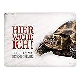 Metallschild XL mit Schildkröte Motiv und Spruch: Betreten