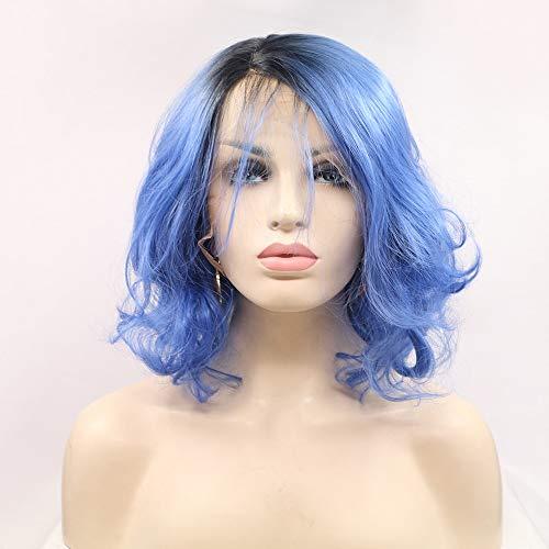 Scra AC Peluca Azul: Pelo Corto, Pelo Rizado, Peluca, Encaje Hecho A Mano, Peluca Europea Y Americana, Conjunto En Los Conjuntos De Pelucas