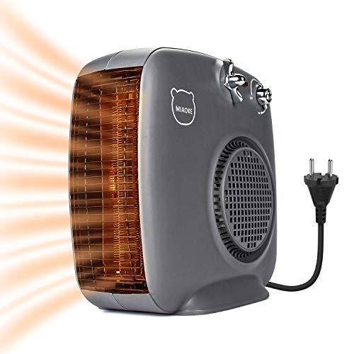 Spardar - Calefactor de cerámica con termostato y protección contra sobrecalentamiento, 1000 W/2000 W de Potencia, Ventilador eléctrico portátil, 3 Modos de calefacción para Oficina, hogar