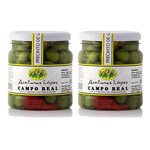 Aceitunas Carrasqueñas Campo Real - Bote de 750 g - Aceitunas Lopez (Pack de 2 botes)