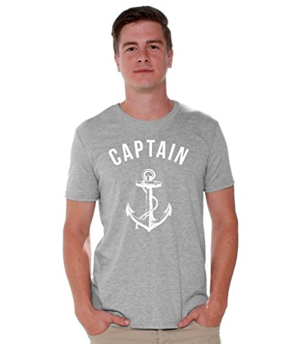 Awkwardstyles Captain T-Shirt White Anchor Summer Beach Party Shirt + Bookmark M Gray