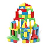 Melissa & Doug Wooden Building Blocks Set - 100 Blocks in 4 Colors