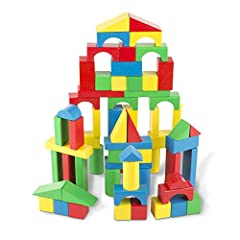 Hours of educational fun: The Melissa & doug wooden building blocks set includes 100 durable wooden blocks in 4 different colors and 9 shapes; it's a classic educational toy that provides hours of hands on, screen free play and learning Stimulates cr...