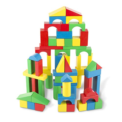 Melissa & Doug Piece Wood Blocks Set Bloques de Madera 100 Piezas, Multicolor (96062)