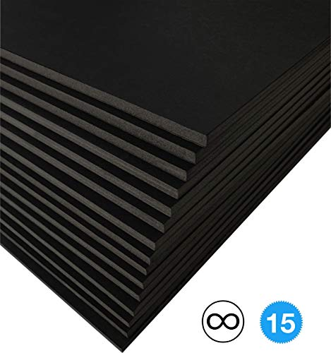 Excelsis Design, Pack of 15, Foam Boards (Acid-Free), 24x36 Inches (Many Sizes Available), 3/16 Inch Thick Mat, Black with Black Core (Foam Core Backing Boards, Double-Sided Sheets)