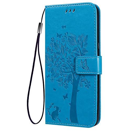 FANFO® Standfunktion Hülle für Google Pixel 4a 4G (5.81'') Handyhülle, PU Leder Magnetschnalle Schutzhülle Flip Wallet Klapphülle Tasche Hülle Cover, Blau