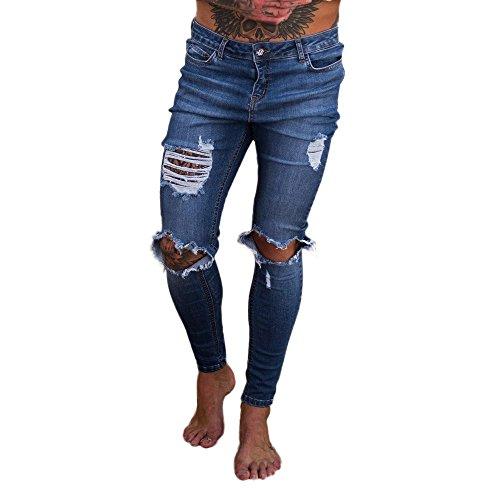 Briskorry Outdoor Löcher Jeans Hose Hosen Slim Fit Schwarz Jeanshose Männer Herren Baggy Bequeme Chino Cargo Stretch Zip Lange High Waist Chinohose Freizeithose