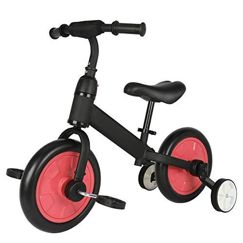 Sfeomi Bicicleta de Equilibrio para Niños 12 Pulgadas Bici para Niños con Pedales Desmontables Bicicleta de Equilibrio Infantil con Rueda Auxiliar (Rojo)
