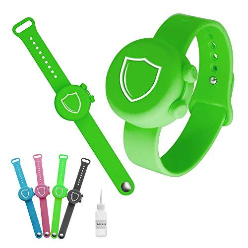 Hand Sanitizer bracelet   silicone wristband   hand sanitizer dispenser   Travel Dispenser with Refill bottle for Adults Teens Kids (Green)