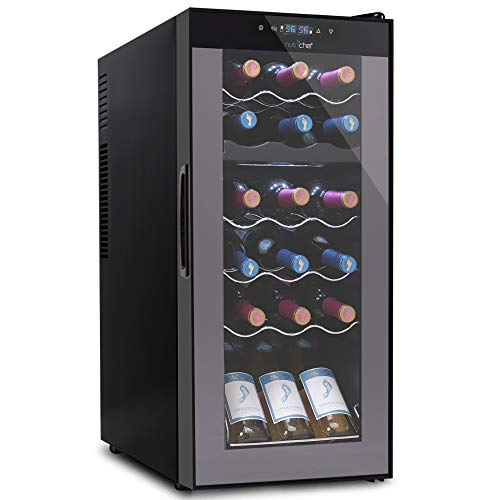 18 Bottle Wine Cooler Refrigerator - White Red Wine Fridge Chiller Countertop Wine Cooler, Freestanding Compact Mini Wine Fridge 18 Bot w/Digital Control, Invisible Door Hinge - NutriChef PKCWCDS188