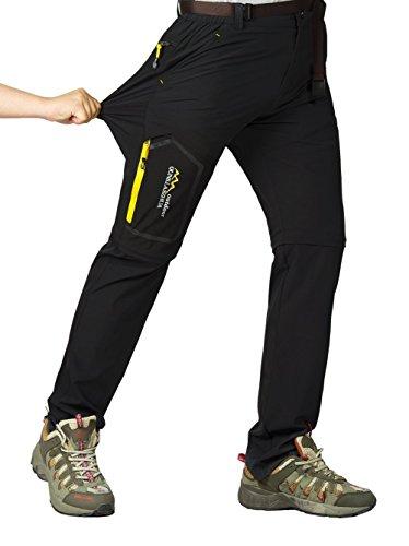 Leezepro Outdoor Hose Herren Zwei Teile zerlegbar Leicht mit Gürtel Sonnenschutz Schnell Trocknende Wanderhose Funktionshose, Schwarz, EU XL (Etikettgröße: 5XL)