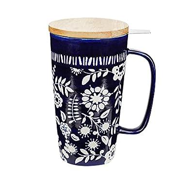 Taimei Teatime Tea Mug, 17 fl.oz Tea Mug with Infuser and Lid, Blue Ceramic Mugs for Loose Leaf Tea
