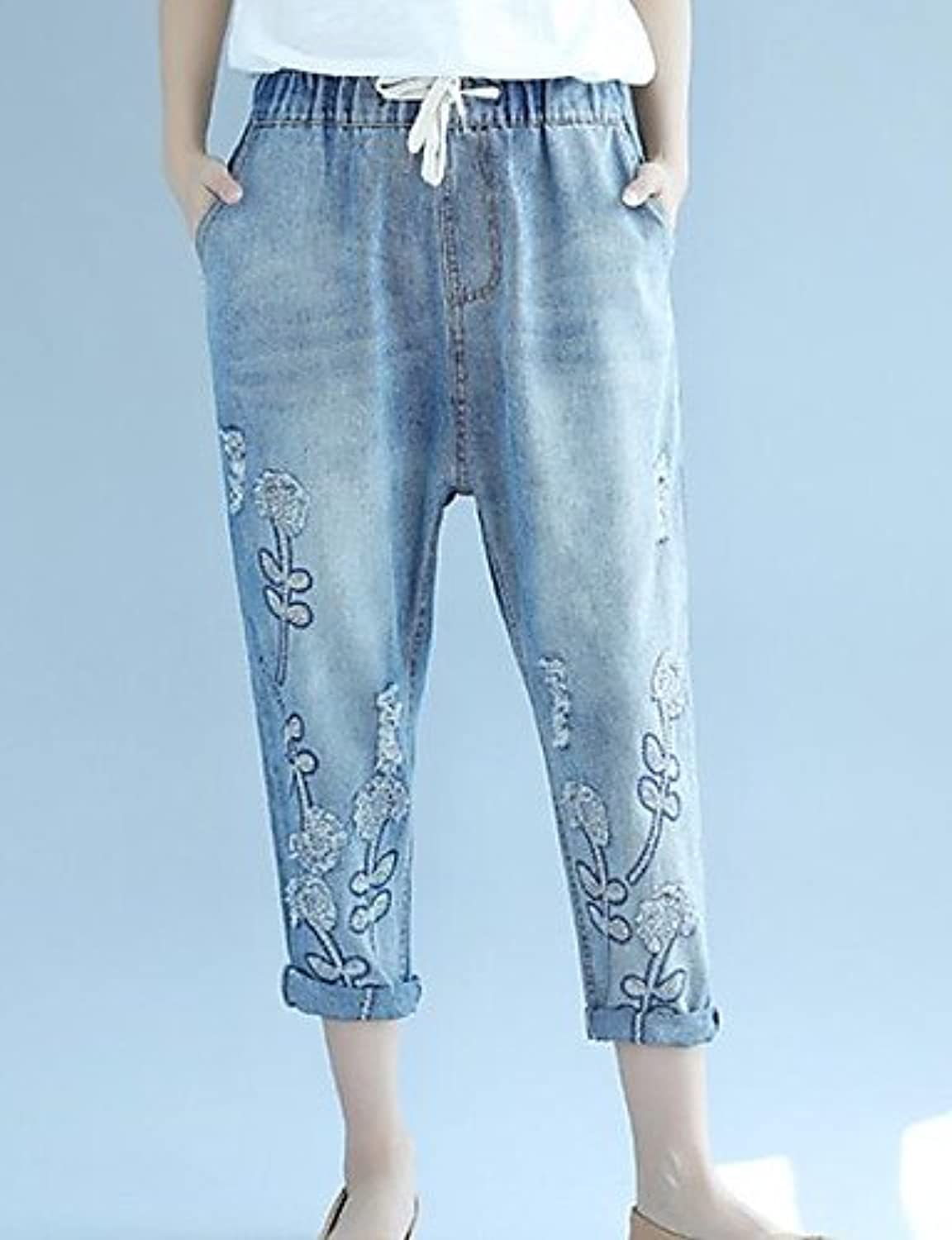 Women's Mid Rise Microelastic Jeans Pants,Simple Wide Leg Print