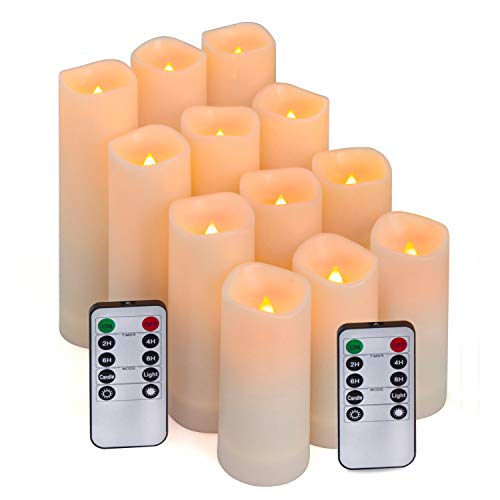 Flameless Candles, Led Candles Set of 12(D 2.1 X H 4 5 6 7) Resin Candles with Remote Timer Waterproof Outdoor Indoor Candles (Made of Plastic)