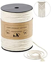 Macrame Cord,PANDAMAN 4mm x 220 Yards (About 200m) Natural Cotton Soft Unstained Rope for Handmade Plant Hanger Wall Hanging Craft Making Bohemia Dream Catcher DIY Craft Knitting