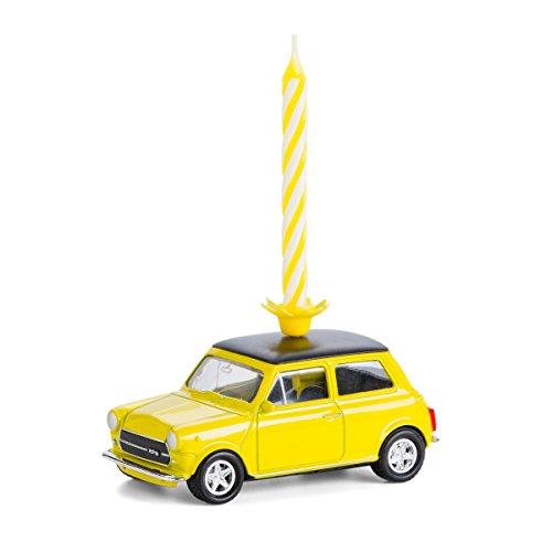 Vela en ruedas–Mini Cooper Classic, metal, plástico, amarillo