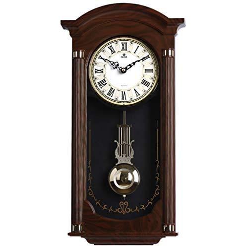 Reloj de pie péndulo del reloj de pared con pilas del cuarzo del reloj de péndulo de madera silenciosa, decorativo reloj de pared del péndulo for sala de estar, oficina, cocina Decoración del hogar re
