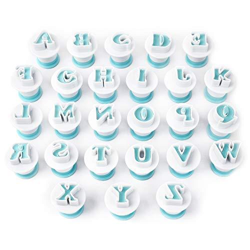 Buchstaben Ausstecher für Fondant Ausstecher - Buchstaben Fondant Ausstecher Backen Zubehör - Alphabet Kuchendekoration Backzubehör Set Auswerfer Stempel Keks Marzipan (Wiederverwendbar)