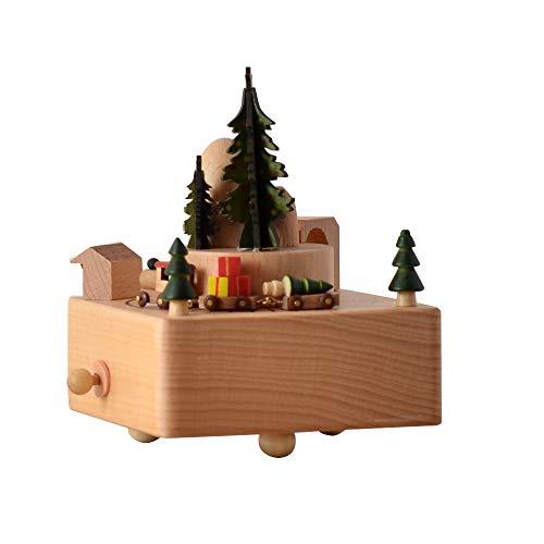 DAMAI STORE Weihnachten Zug Holzspieluhr Clockwork Drive Buche Kinderhandwerk Kreative Geschenke Geburtstagsgeschenk Reine Musik Holzfarbe