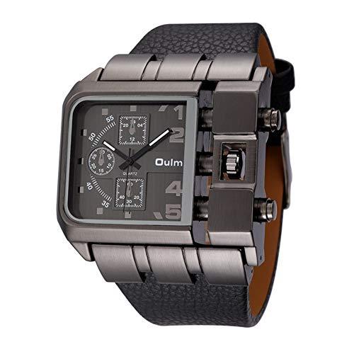 SW Watches Oulm Super große quadratische Zifferblattuhren Casual Armbanduhr Breites Lederarmband Top Marken Quarzuhr für den Mann 3364,Black
