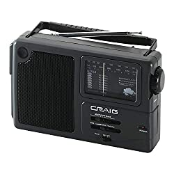 Craig CR4181W Weather Radio with Rod Antenna | Radios Portable AM FM | Emergency Radio with Extra Long Battery Life | Headphone Jack & Speakers | Great for On-The-Go |