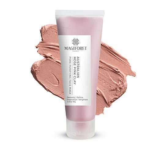 Pink Tonmaske, MagiForet Pink Clay Maske - Australische rosa Tonerde Gesichtsmaske, unreine Haut,Akne-Behandlung