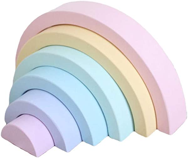 Wenini Rainbow Arch Bridge Wooden Toy 6pcs Rainbow Blocks For Children Blocks Toys Game Educational Toys B