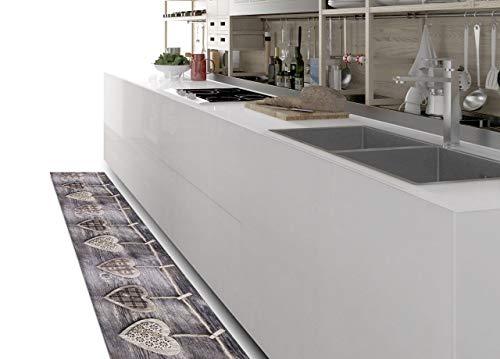 BIANCHERIAWEB Tappeto cucina antiscivolo Grigio, Passatoia cucina misura 50x280 cm, Corsia per cucina Made in Italy con stampa digitale a Cuori, Tappeto tagliabile con tessuto antisfilo