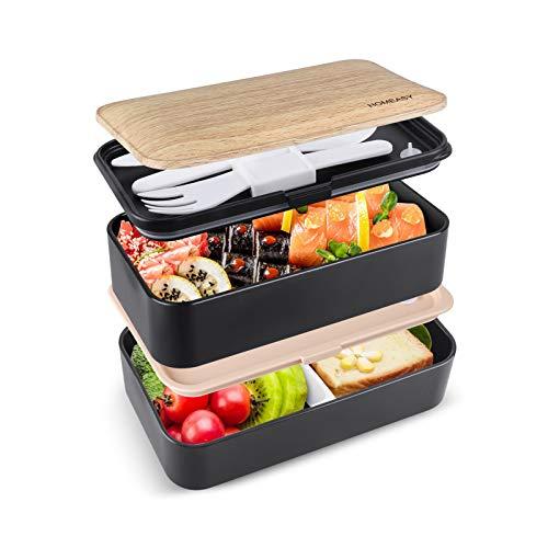 homeasy Bento Box Erwachsene Unterteilung Design Brotdose für die Arbeit und Schule Spülmaschinenfeste Japannische Bentobox mit 3 teiligem Besteck Lunchbox