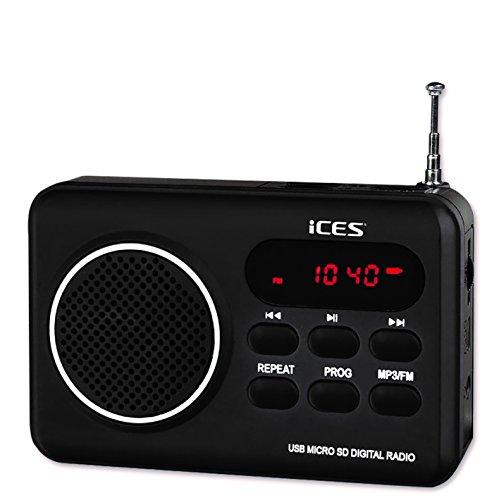 iCES IMPR-112 UKW Radio tragbar mit Akku (USB, SD-Kartenleser, Senderspeicher, LED-Display, Kopfhörerbuchse, Teleskopantenne), schwarz