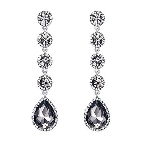 BriLove Wedding Bridal Dangle Earrings for Women Elegant Crystal Teardrop Chandelier Earrings Grey Black Silver-Tone